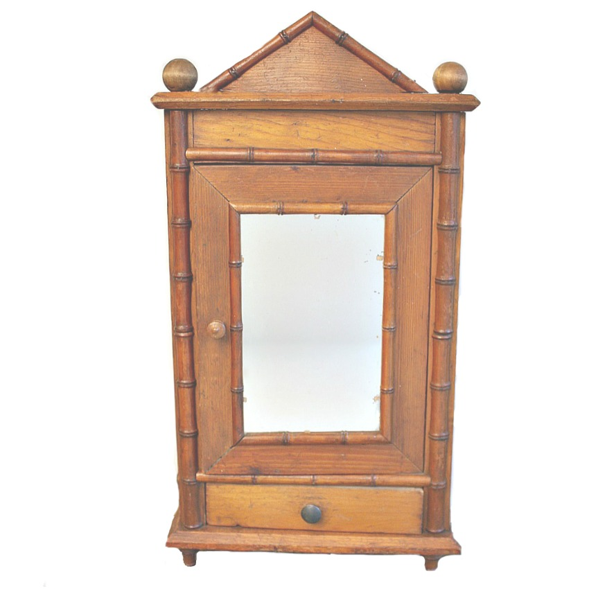 Antique French Faux Bamboo Miniature Armoire