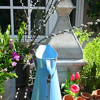 Antique French Blue Enamel Body Pitcher
