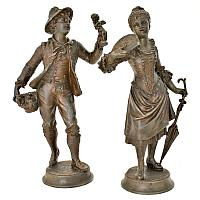 Antique French Peddler & Young Woman with Fan Metal Figures