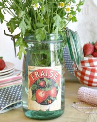 Vintage French Canning Jar Fraise
