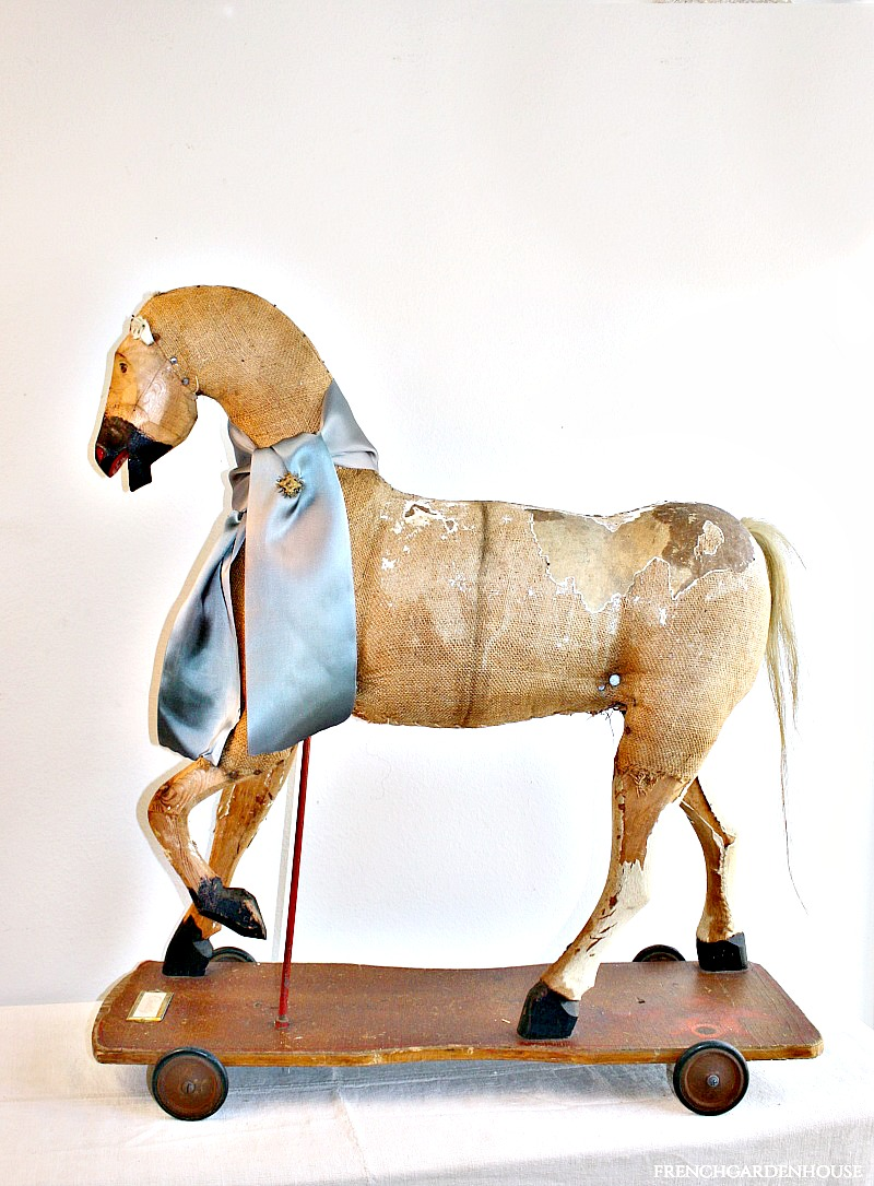 19th Century Antique Toy Horse with Original Wheels