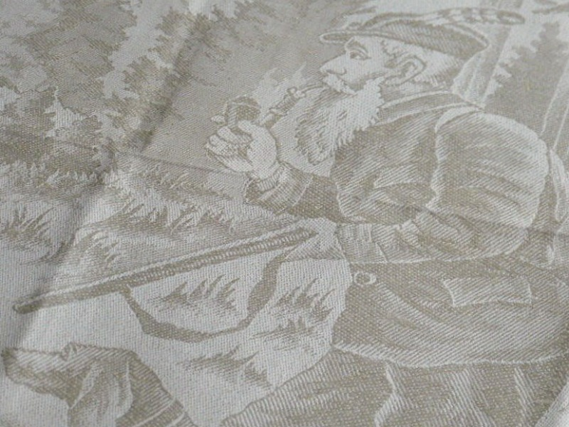 Antique Estate Luxury Exclusif Linen Damask Towel Figural Hunter and Dog