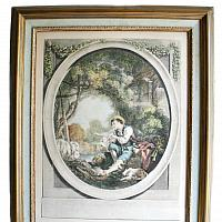 Pair Antique Framed French Country Aquatint Engravings