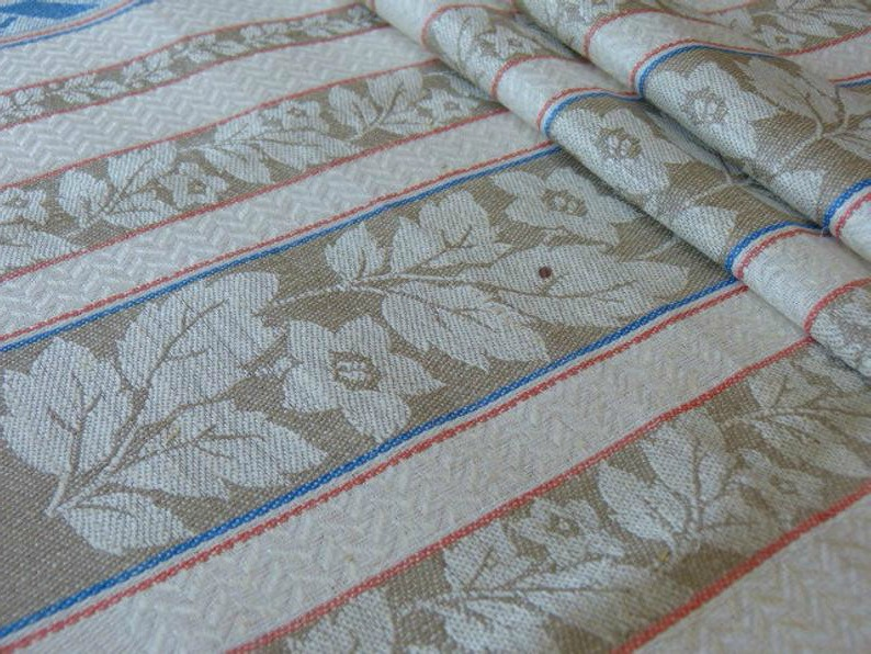 Antique Linen Drying Towels Apricot French Blue Set of Three