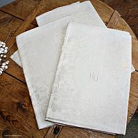 Antique French Cream Floral Damask Tea Towel Roses
