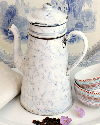 Antique Enamel Blue & White Swirl Coffee Biggin