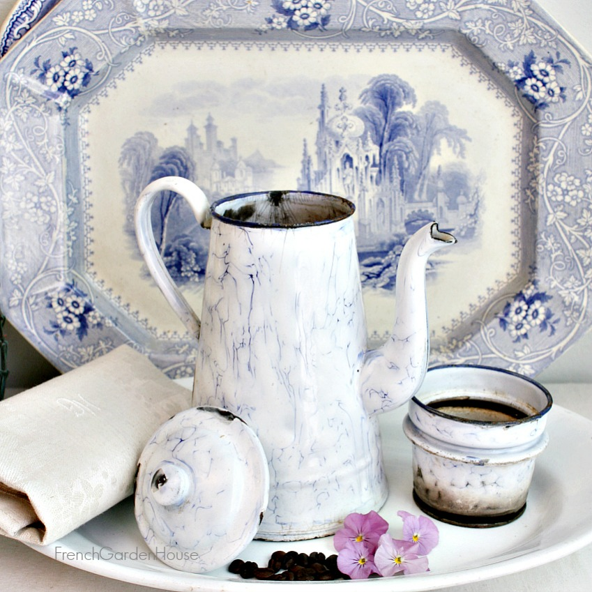Antique Belgian Enameled Blue & White Swirl Coffee Biggin