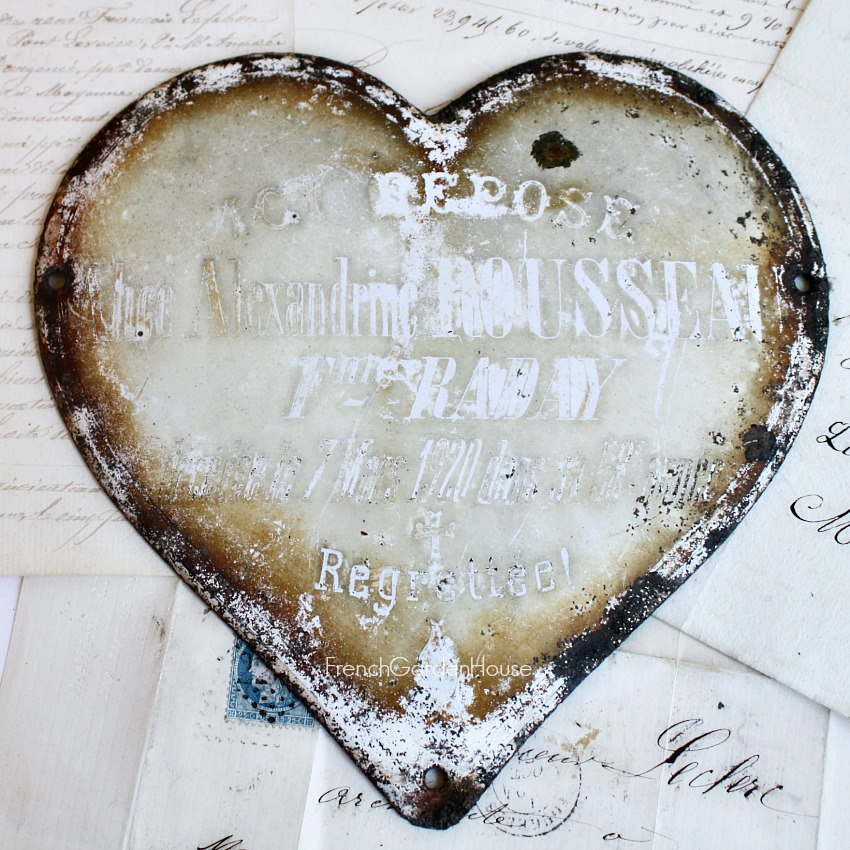 French White Enamel Shabby Mourning Heart Plaque Rousseau