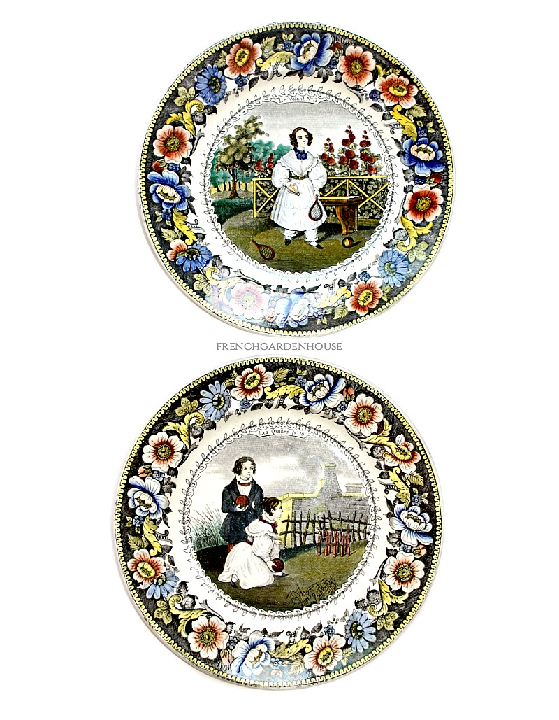 19th Century Antique French Creil Childhood Games Faience Plates Set 2