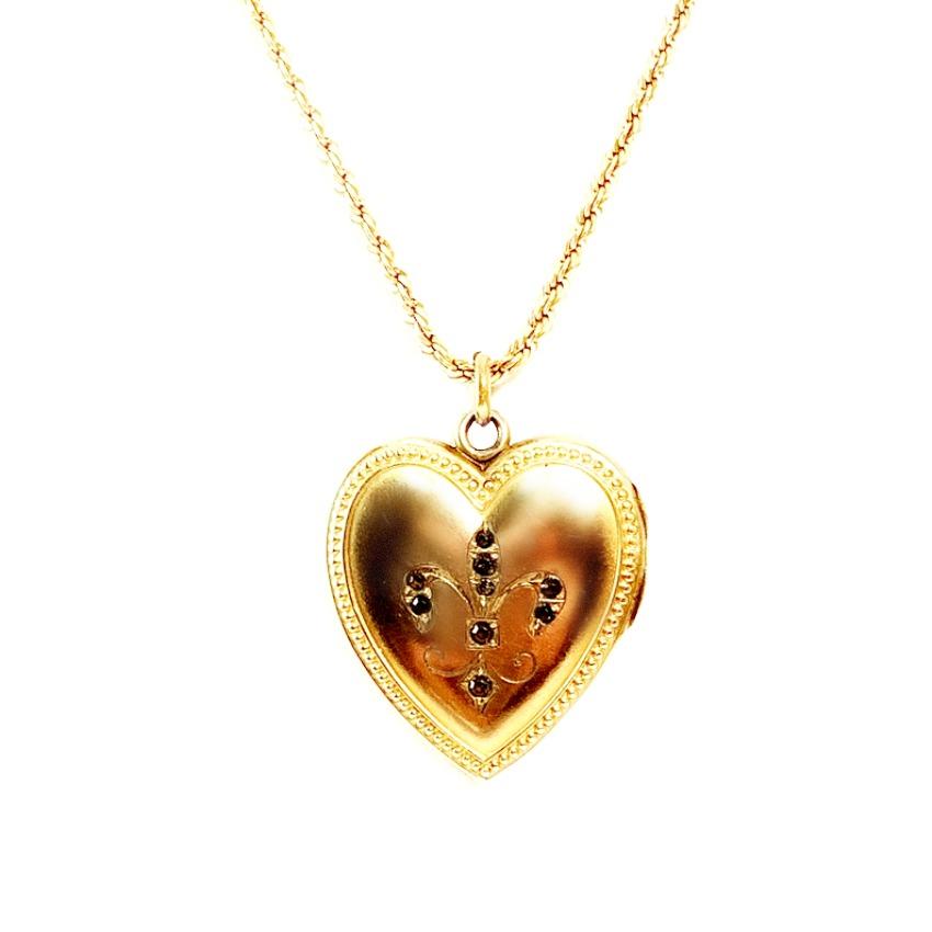 Antique 19th Century Heart Fleur de Lis Locket & Necklace