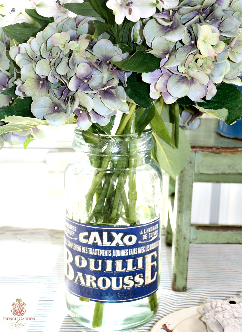 French Apothecary Jar Vase Blue Paper Label