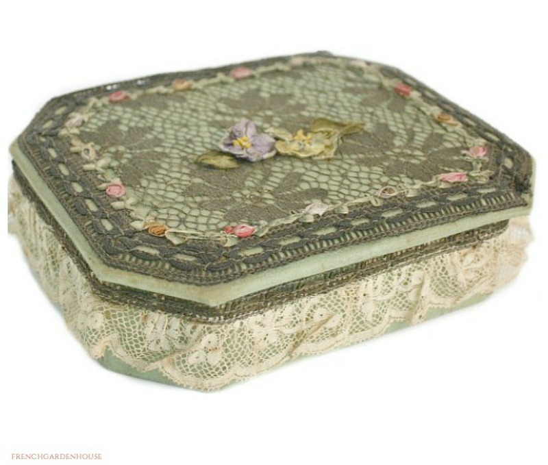 Antique French Ribbonwork Gold Metallic Lace Jewelry Box