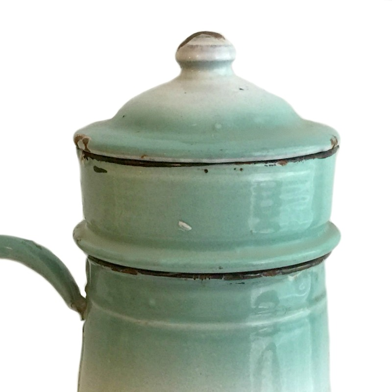 Antique French Soft Green Enamelware Biggin