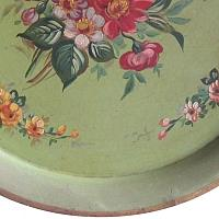 Antique French Paris Green Tole Peinte Round Tray