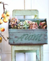 Antique French Metal Garden or Potting Shed Tote