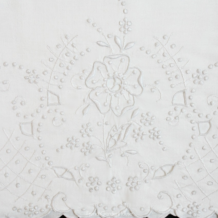 Antique French Hand Embroidered White Pillow Case Set