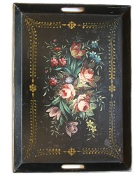 Antique French Tole Peinte Tray Black Floral