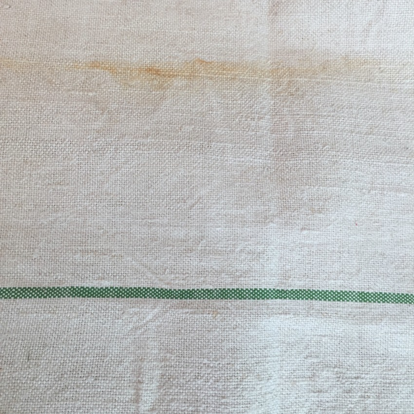 Antique French Country Linen Table Runner Red, Blue, Green Stripes