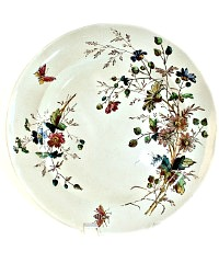 19th Century Floribel Polychrome Ironstone Dinner Plate Set of 8