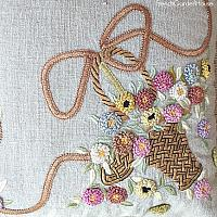 Vintage French Knot Embroidered Flower Basket Natural Linen Pillow