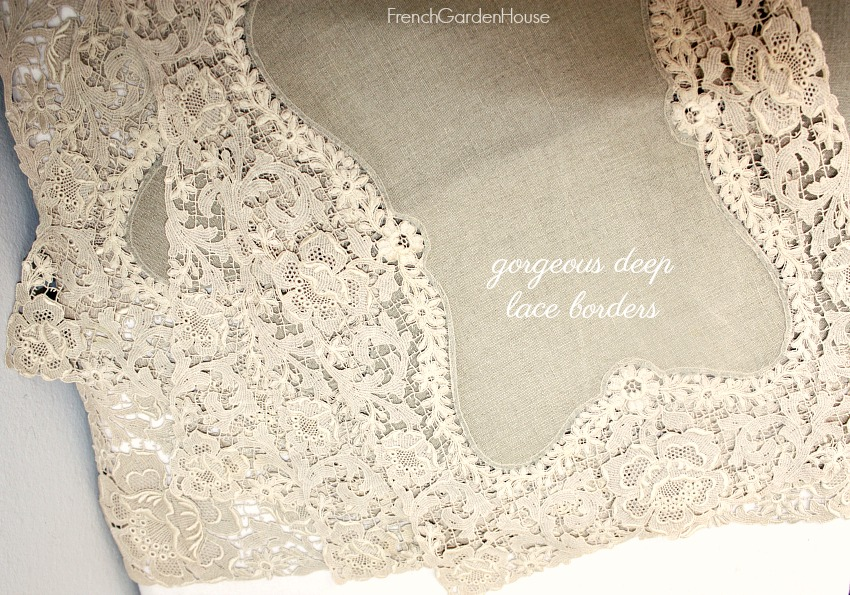 Antique Estate Natural Linen and Lace Placemat Set of 4 and Runner