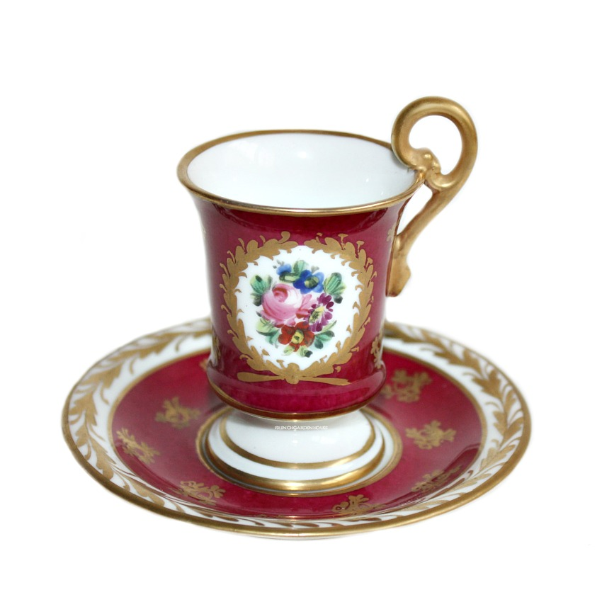 Hand Painted French Limoges Red Floral & Gilt Demi-Tasse Set