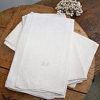 Antique French Cream Floral Linen Damask Tea Towel D F