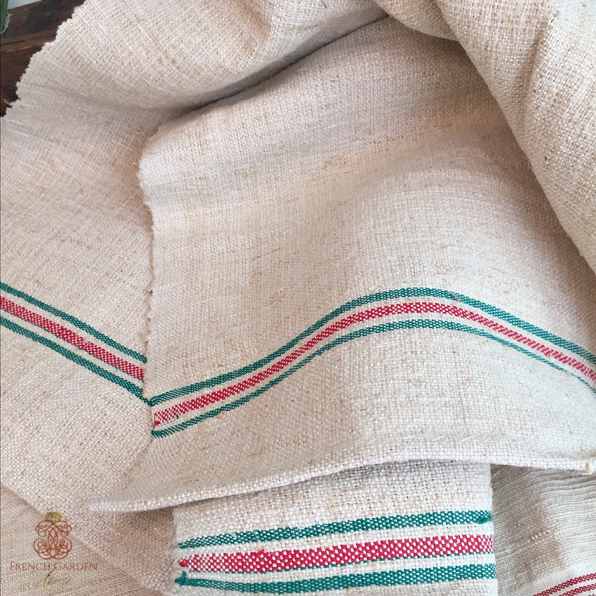 Antique French Flax & Line Towel Green Red Stripe