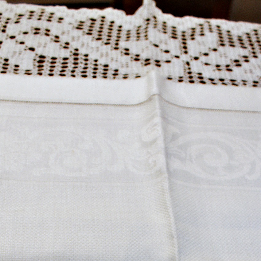 Large Antique White Damask Bath Towel with Crochet Lace