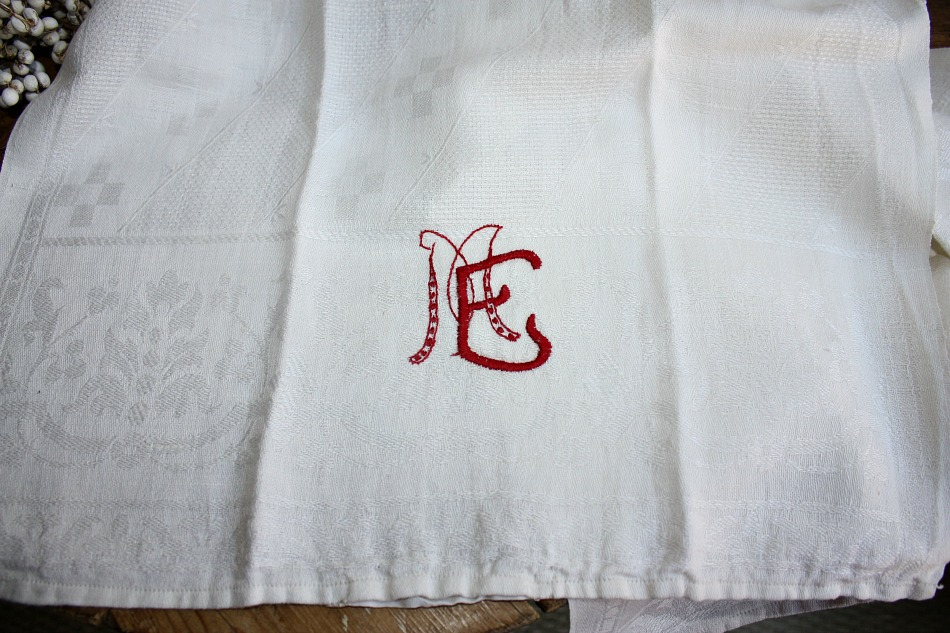 Antique French Cream Damask Red Monogram Towel M E