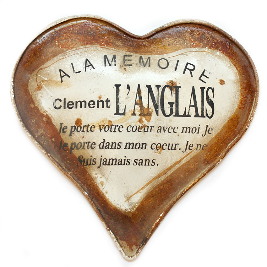 Antique French Memorial Burial Plaque Heart
