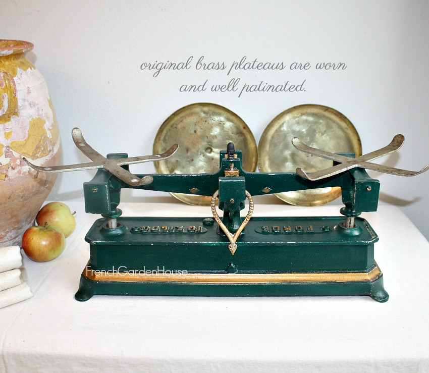 Antique French Shop Balance Scale Country Green & Gilt