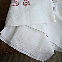 Antique French Metis Hand Woven Table Throw Red Monogram A B