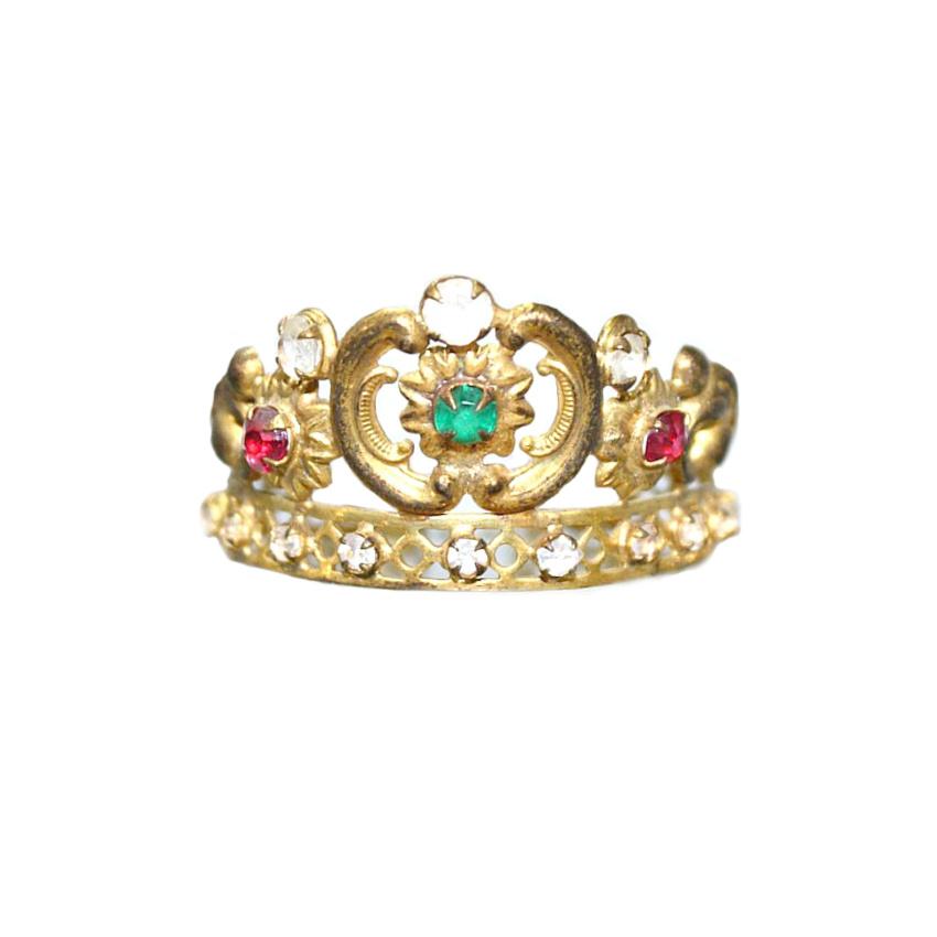 Antique 1840 French Miniature Religious Madonna Ormolu Crown Green