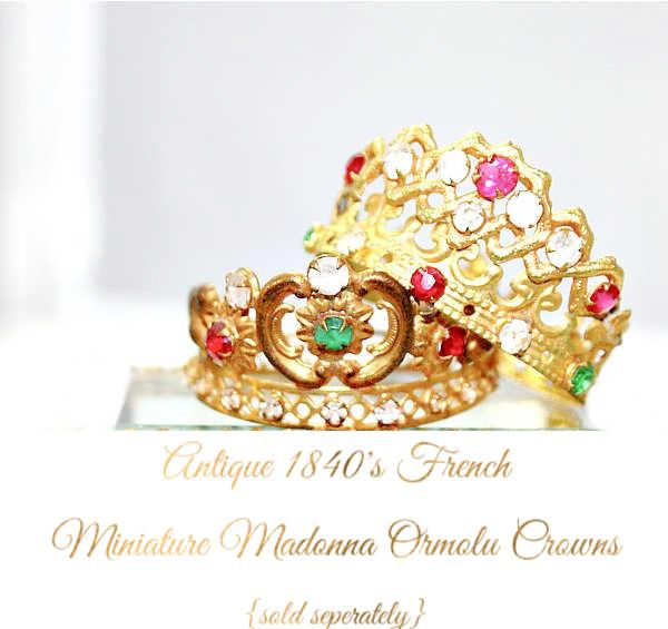 Antique 1840 French Miniature Religious Madonna Ormolu Crown