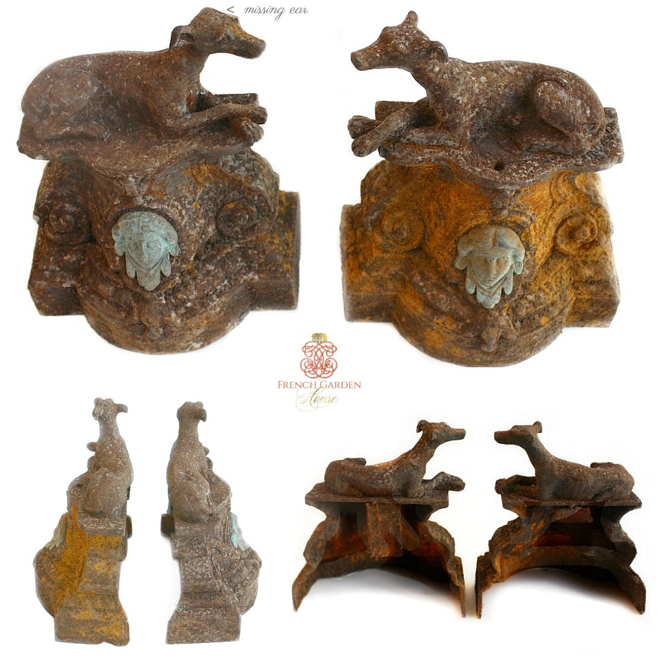 Antique French Patinated Cast Iron Whippet Dog Figures