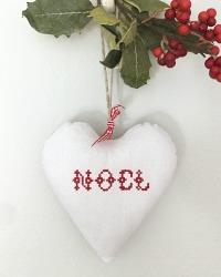 French Country Hand Made Antique Linen NOEL Heart Lavender Sachet