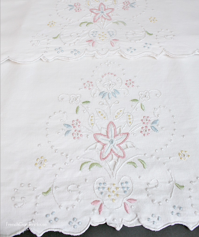 Antique French Hand Embroidered White and Pastel Flowers Linen Pillow Cases