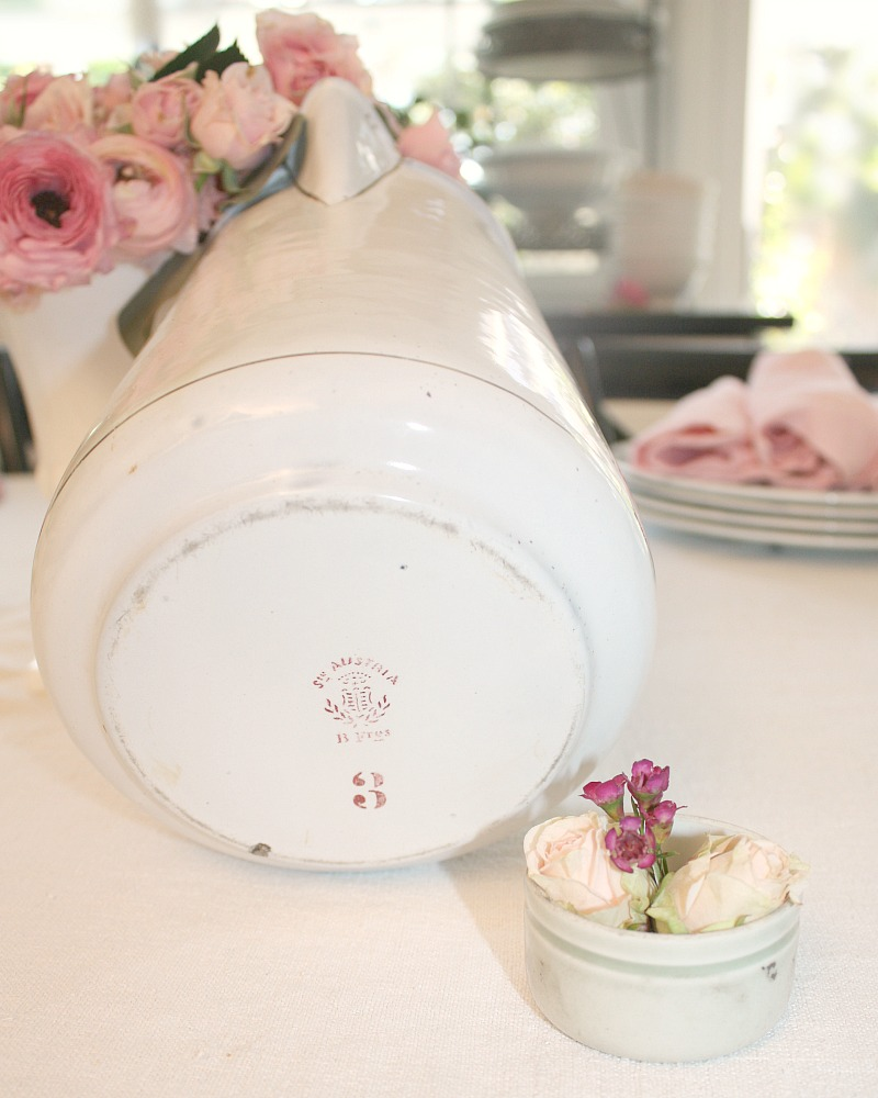 Antique French Large Pink Roses Enamelware Water Warmer