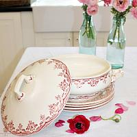 Antique French Ironstone Tureen Red Pink Roses