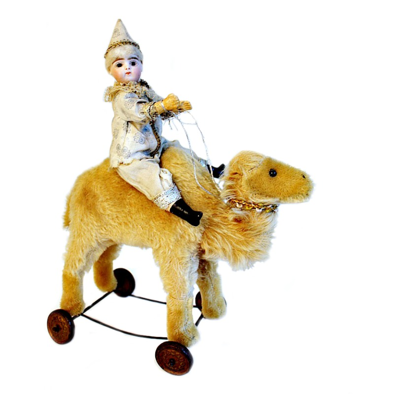 Rare Antique French Francois Gaultier Bisque Doll Riding on Camel Pull Toy