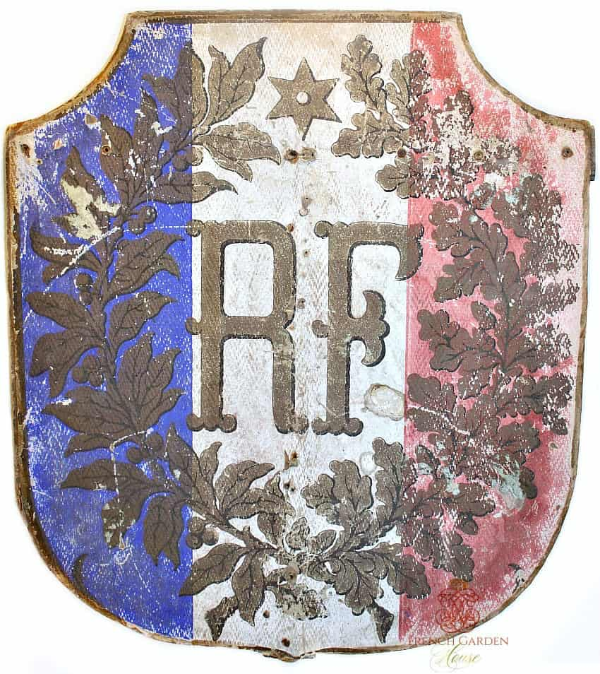 Antique French Republique Francaise Wood and Board Shield