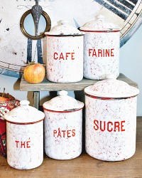 Antique French Enamelware Red and White Canister Set