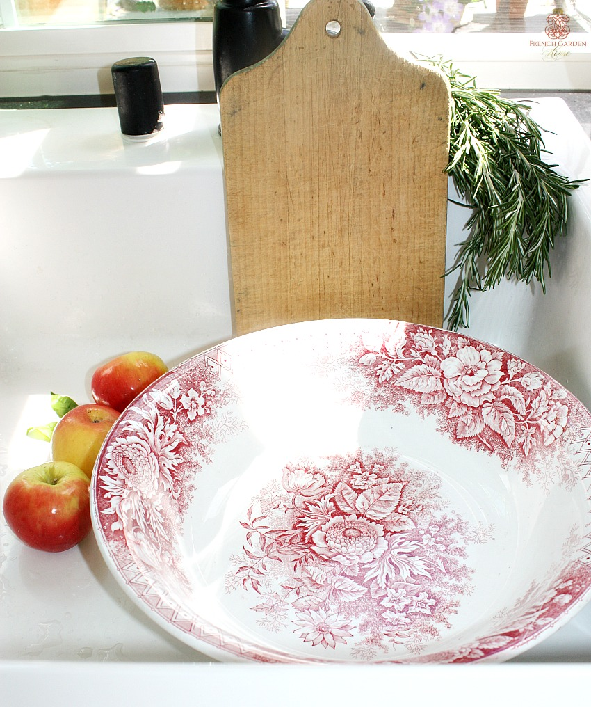Antique French Country Ironstone Bowl with Red Florals