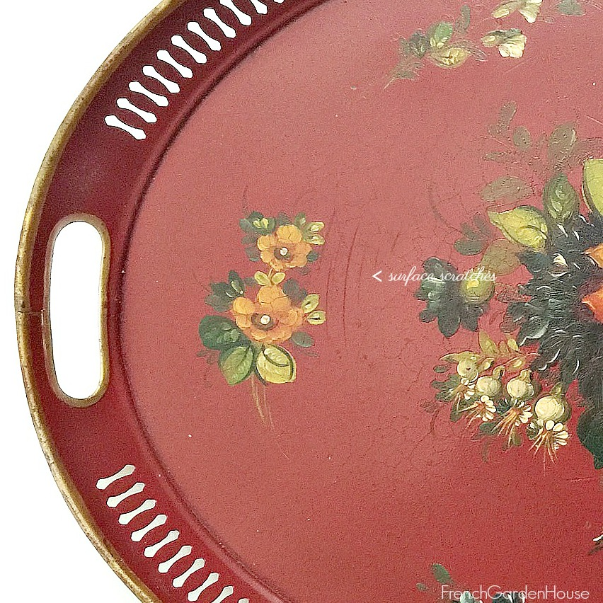 French Country Red Tole Peinte Tray
