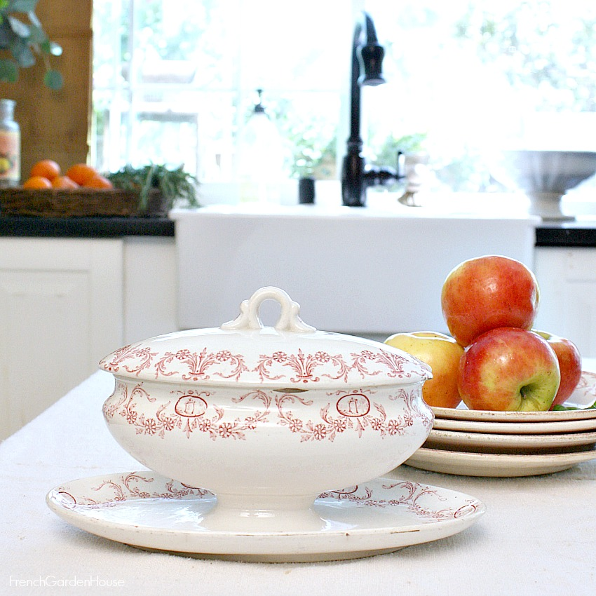 Antique French Ironstone Red Transferware Petit Tureen with Underplate