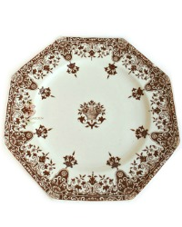 Antique French Brown Transferware Medium Plates Rouen Set of 8