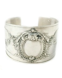 KDL Antique French Sterling Silver Rose Garland Cuff Bracelet