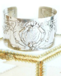 KDL Antique French Sterling Silver Shell Monogrammed Cuff Bracelet