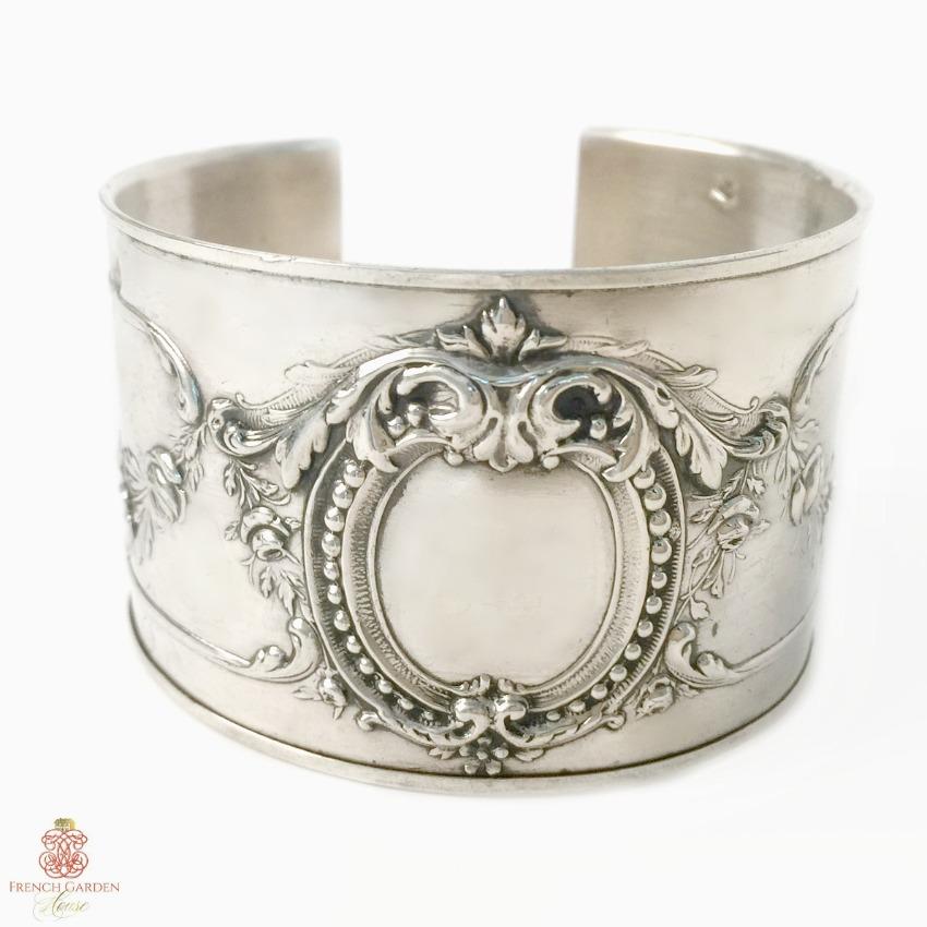 KDL Antique French Sterling Silver Rose Garland Cuff Bracelet